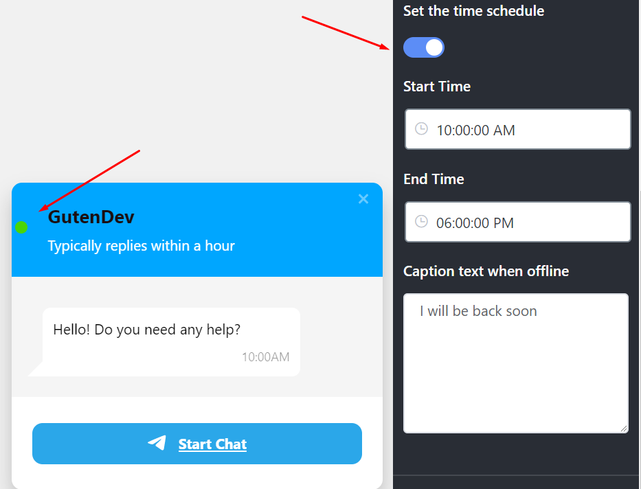 Set The Time Schedule for live chat