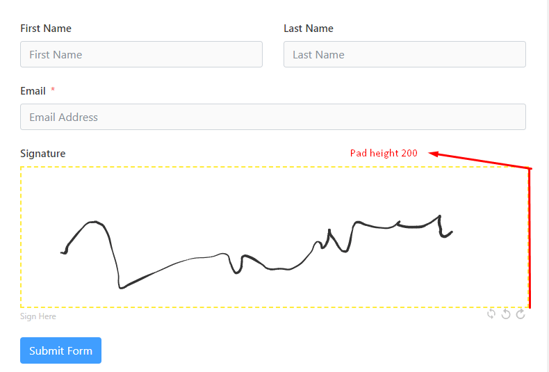Pad height signature field on Fluent Form.png