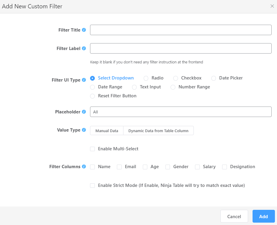 how to use custom filter in product tables