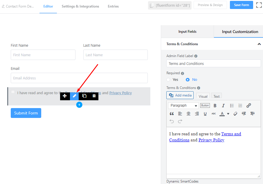 Terms and condition edit in Fluent Forms.png