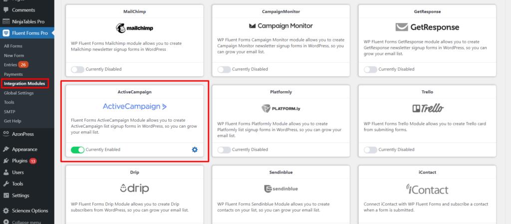 Active Campaign Module Fluent Forms