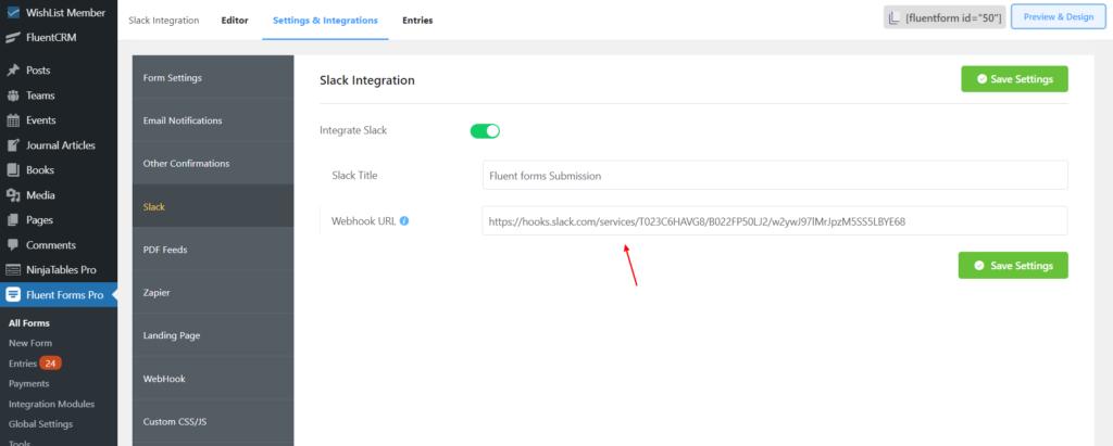 Slack Integration - paste Webhook - Fluent Forms