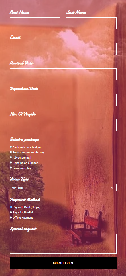Getaway booking form for Valentine's day promotions - Fluent Forms