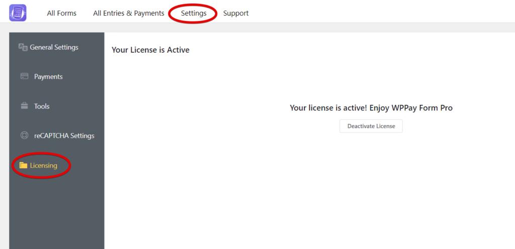 Activate WPPayForm License