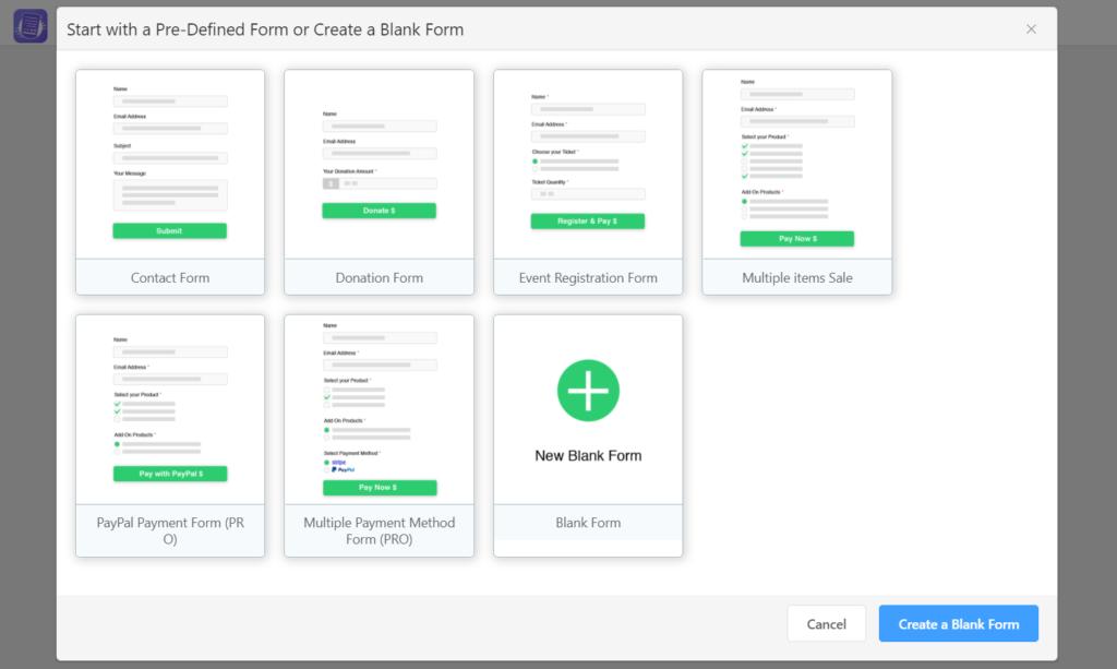 WPPayForm Prebuilt Templates