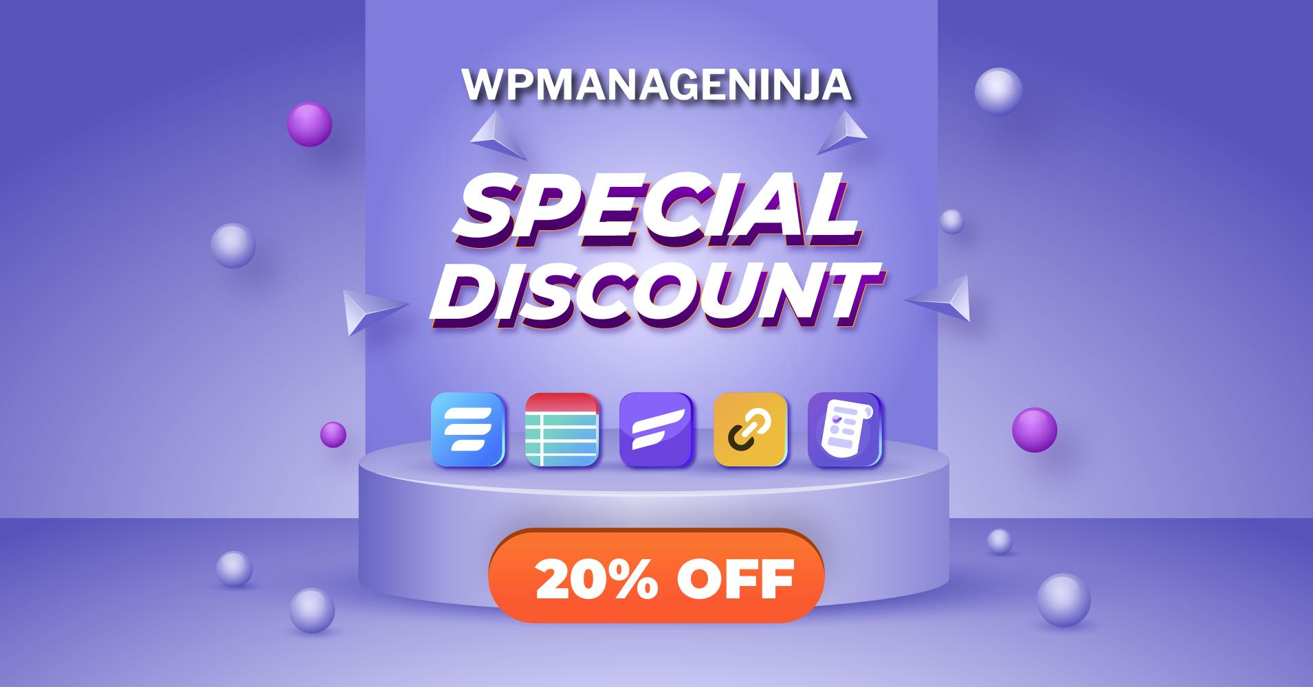 WPManageNinja - special discount deal