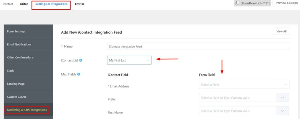 iContact mapping Integration with WP Fluent Forms