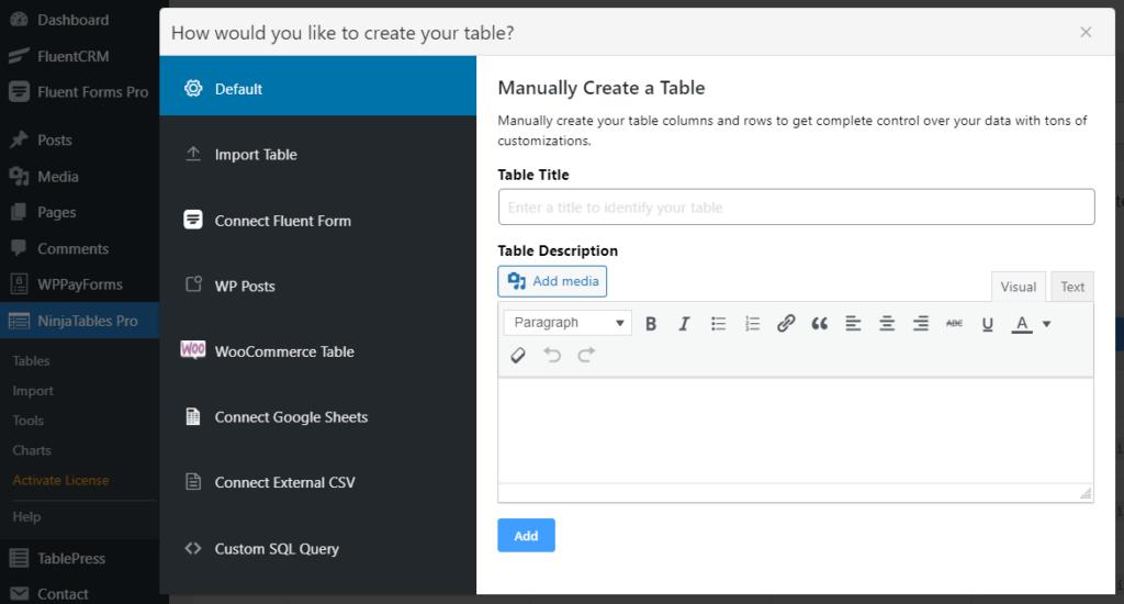 Tablepress and Ninja Table UI Comparison