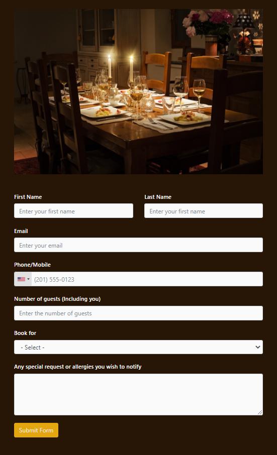 Booking a restaurant - Fluent Forms