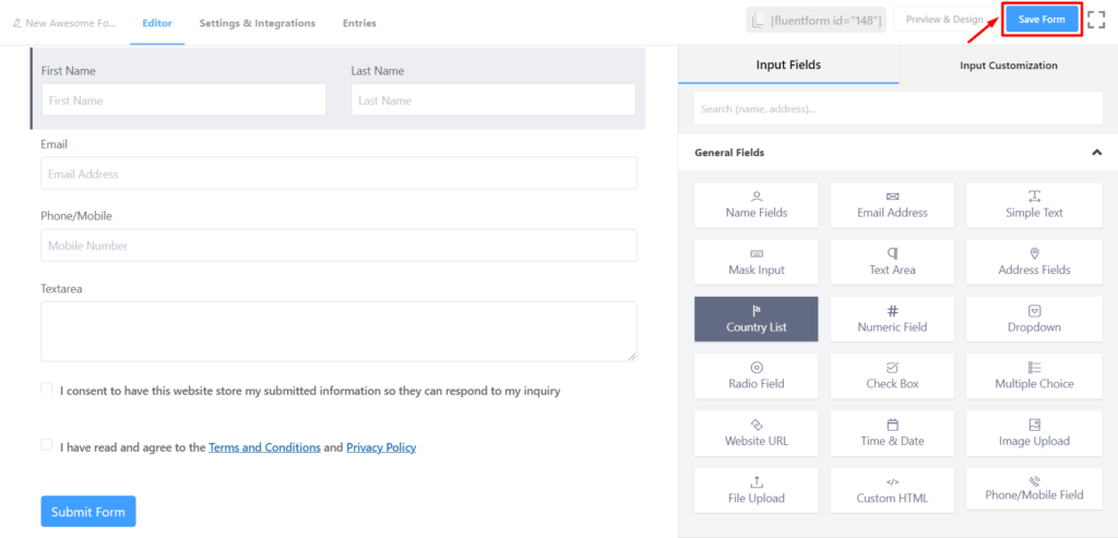 Don't forget to Save Form - Fluent Forms
