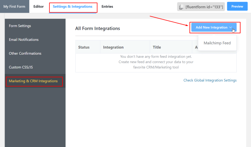 Add New Integration MailChimp - Fluent Forms