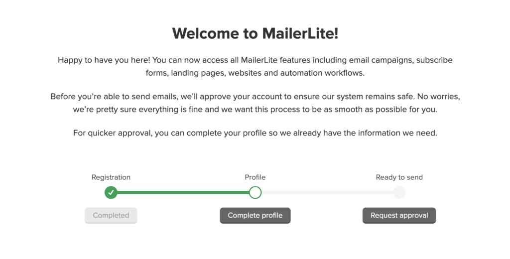 MailerLite - Create your profile