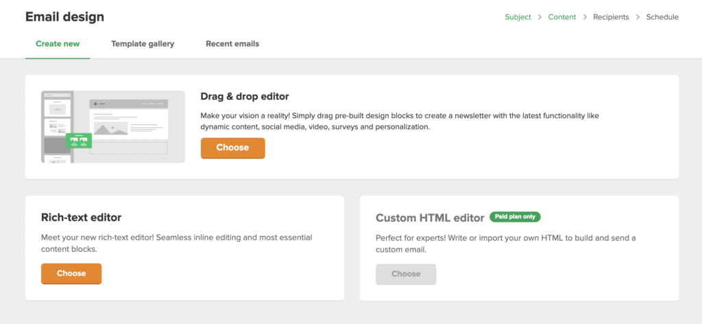MailerLite - Choose editor to design your email