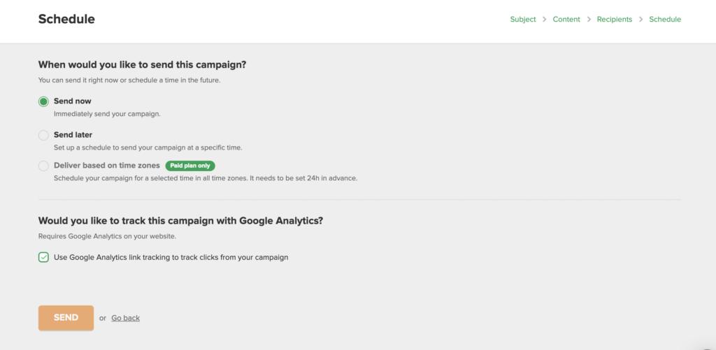 MailerLite - Schedule your campaign