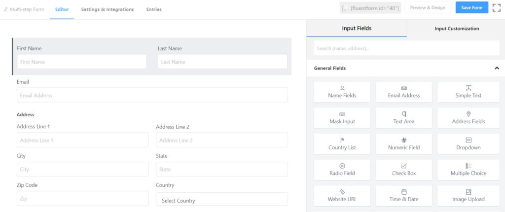 Multi-step form input fields