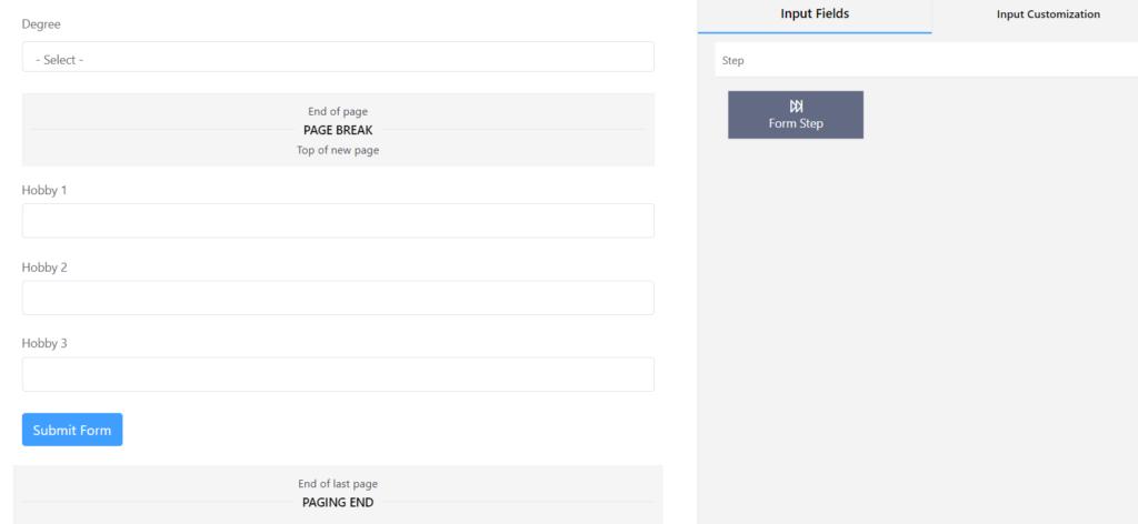 Hobby Step 3 multi-step form WordPress