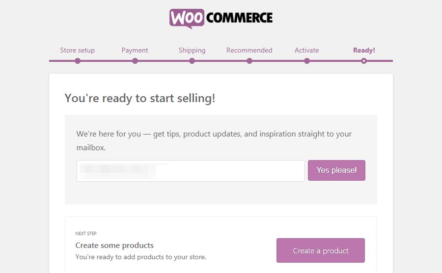 Finish WooCommerce settings