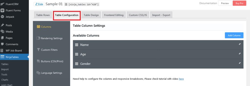 WordPress table builder for beginners