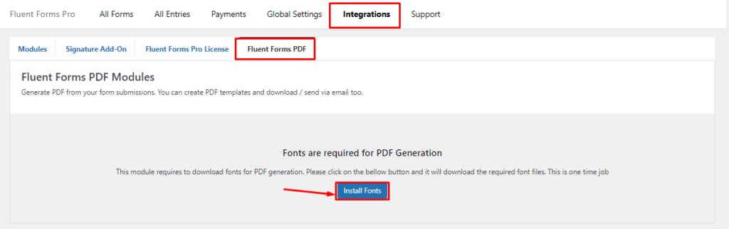 Install PDF Fonts