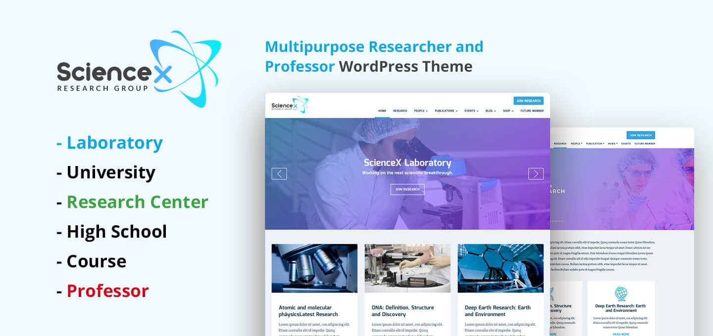 "<span itemprop=""name"">ScienceX – Multipurpose Education, Researcher & Professor WordPress Theme</span>"